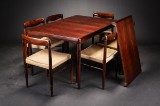 H. W. Klein. Dining table and six chairs, rosewood (7)