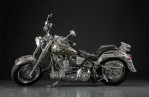 Giger spezial-handgebautes Motorrad, Harley Davidson Fatboy