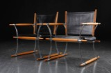 Jens Harald Quistgaard. A pair of chairs, 'Stokkestole', teak and black leather (2)