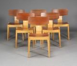 Agner Christoffersen og Egon Bro. Seks stole produceret af Kvetny og sønner møbelfabrik (6)