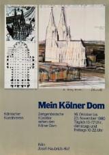 Ausstellungsplakat 'Mein Kölner Dom', Kölnischer Kunstverein 1980, mit Christo Signatur