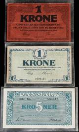 Danske sedler. 5. kr. ombytningsseddel 1945, kvalitet 0 samt to 1.krone sedler 1914 og 1916
