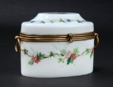 Oval sugar box, opaline glass, 19th century