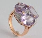 Ring with amethyst and diamonds approx. 10.92 & 0.46ct