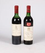 1 flaske Chateau Mouton Rothschild 1972 og 1 flaske Grand Vin de Chatau Latour 1972 (2)