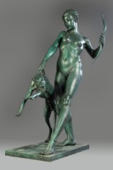Art deco figure of woman with dog. Bronze.