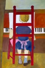 Helga Radener-Blaschke, Öl auf Leinwand, 'Mädchen am Klavier'
