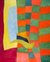 Helga Radener-Blaschke, oil on canvas, 'Hut auf farbigem Stoff'