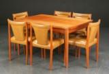Spisebord samt seks stole, teaktræ, 1960'erne (7)