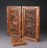 2 japanske paneler samt orientalsk træskæring (3)