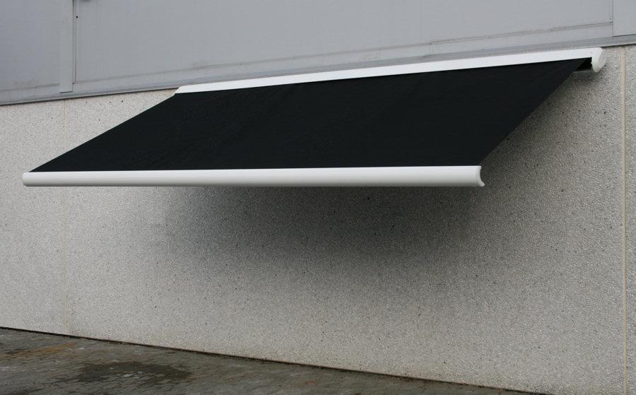 sort markise 4 meter hellukket aluminiumskasse motor samt fjernbetjening galvaniserede beslag. Black Bedroom Furniture Sets. Home Design Ideas