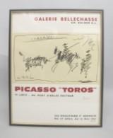 Picasso, håndsigneret plakat 'Toros' fra udstilling i Galerie Bellechasse i 1961, offset-litografi på papir