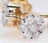 Par diamantøreringe fra byfrisenholm, 14 kt. rosa guld, ca. 0.25 ct. (2)