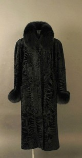 Persian broadtail coat with black fox fur, size approx. 42