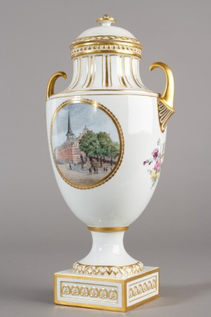 Royal Copenhagen A Grand Vase With Cover Vedute Painting Special