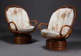 Dansk møbelproducent. Par lænestole, bambus (2)