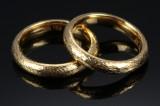 Georg Jensen. To ringe af satineret guld, 18 kt. (2)