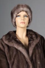 Blue Iris Mink coat and head band, size 40-42 (2)
