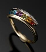 Ring af 9 kt guld, med multicolour ædelsten