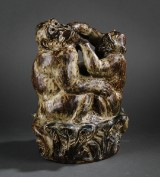 Knud Kyhn, cd. Two stoneware apes with Sung glaze