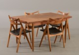 Hans J. Wegner - Four chairs, Saw Horse Chair, model CH49, with table of another make (5)