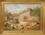 Carl Bøgh, oil on canvas, farm exterior with animals