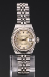 Rolex 'Datejust' ladies' watch, steel, dial with diamonds