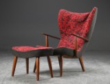 Madsen & Schubell. Easy chair and stool, model Pragh, 1950's (2)