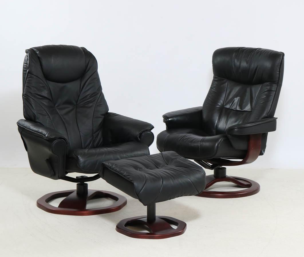 Scansit. Hvilestol samt skammel samt læderstol (3) |