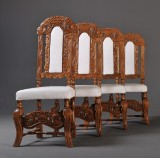 Four chairs, Gründerzeit period, upholstered with undercover (4)