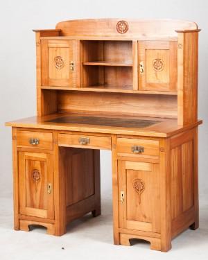Schreibtisch kirschholz furniert um 1900 for Schreibtisch kirschholz