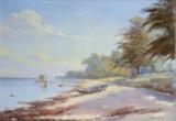 Ubekendt maler 20. årh.  Kystparti med jolle på stranden.