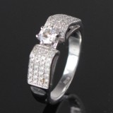 Solitaire ring, 14 kt. rhodium-plated gold, brilliant-cut diamonds 0.68 ct.