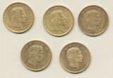 Danmark 10 kroner 1873, 1874, 1890, 1898 og 1900 guld (3)