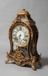 French mantle clock in the manner of Boullé, signed Boucheret, mid-19th century