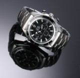 Omega 'Seamaster Planet Ocean'. Men's chronograph in steel with black dial, c. 2006