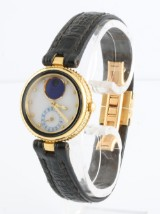 Gerald Genta lapis moonphase day ladies watch in 18kt gold limited edition, with box and manual.