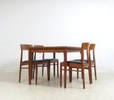 Dänischer Möbelarchitekt, Esstisch + Stühle in Teak und Leder (5)