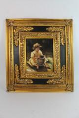 Ölgemälde im prunkvollen Rahmen, Portrait eines Kinde