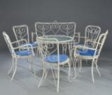 Havemøblement. Hvidlakeret metal. Bord, sofa og 5 stole