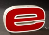 Illuminated advertising letter 'e' with LEDs