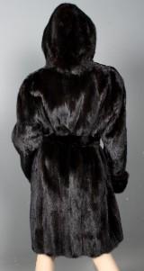 Saga Superb mink jacket with belt and hood, size 38/40