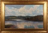 Carl Milton Jensen, landskab, olie på lærred