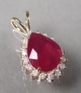 Rubin- og diamantvedhæng