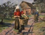 Oil painting, Karl Krummacher, 'Wäscherin mit Korb'