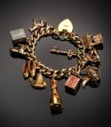 Oversize vintage charmarmbånd af 9 kt. guld