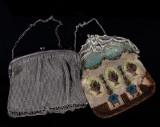 Aftonväskor, silver och nysilver, sent 1800-tal  samt 1920/30-tal (2)