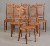 6 højryggede stole af eg, ca. 1880-1900-tallet (6)