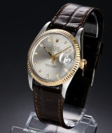 Rolex 'Datejust' men's watch, 18 kt. gold and steel, silver-coloured dial with diamonds, c. 1987