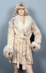 Brdr. Alex Pedersen. Clipped mink coat with fox lapels, size 42